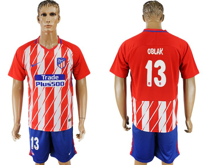Men 2017-2018 club Atletico Madrid home 13 soccer jersey