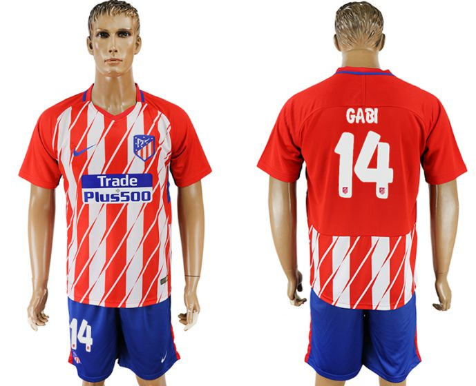 Men 2017-2018 club Atletico Madrid home 14 soccer jersey