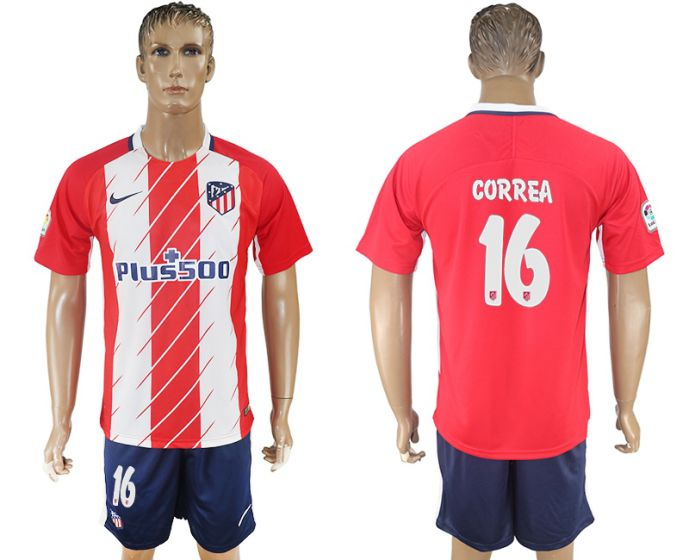 Men 2017-2018 club Atletico Madrid home 16 red soccer jersey