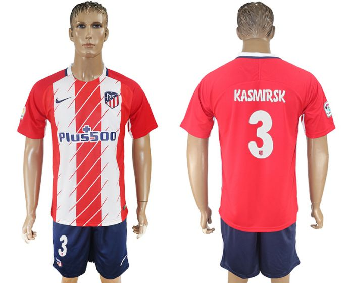 Men 2017-2018 club Atletico Madrid home 3 red soccer jersey