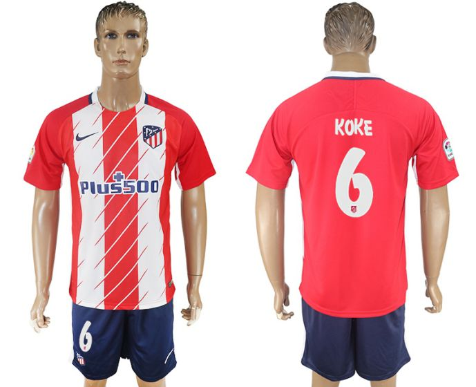 Men 2017-2018 club Atletico Madrid home 6 red soccer jersey