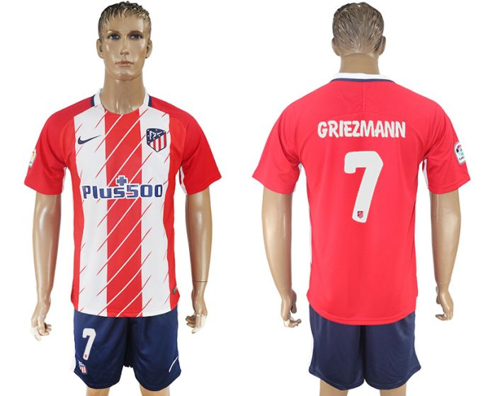 Men 2017-2018 club Atletico Madrid home 7 red soccer jersey