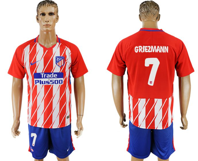 Men 2017-2018 club Atletico Madrid home 7 soccer jersey