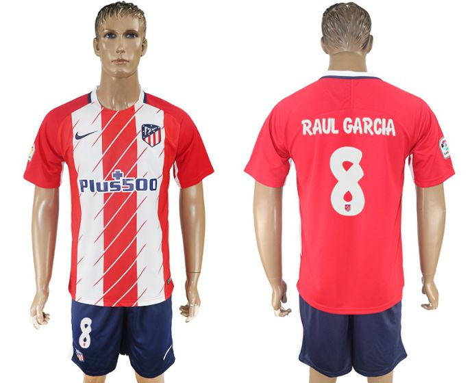 Men 2017-2018 club Atletico Madrid home 8 red soccer jersey