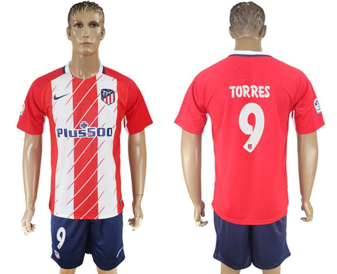Men 2017-2018 club Atletico Madrid home 9 red soccer jersey