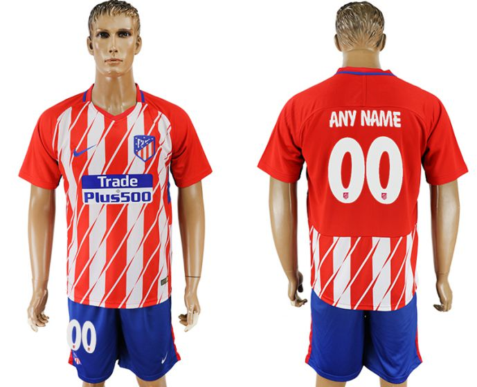Men 2017-2018 club Atletico Madrid home customized soccer jersey