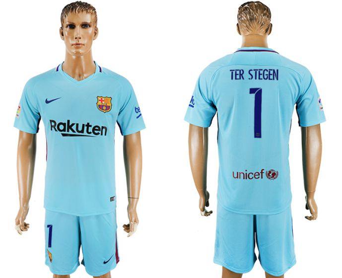 Men 2017-2018 club Barcelona away 1 Ter Stegen blue soccer jersey