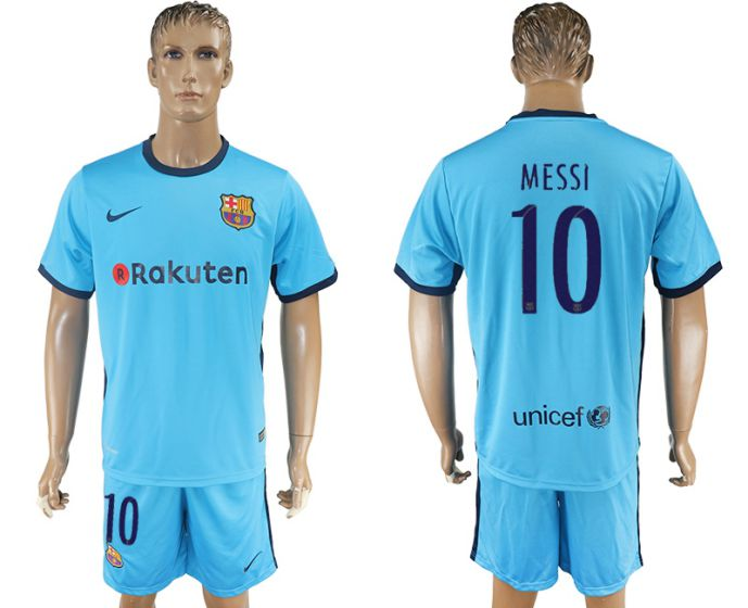 Men 2017-2018 club Barcelona away 10 blue soccer jersey