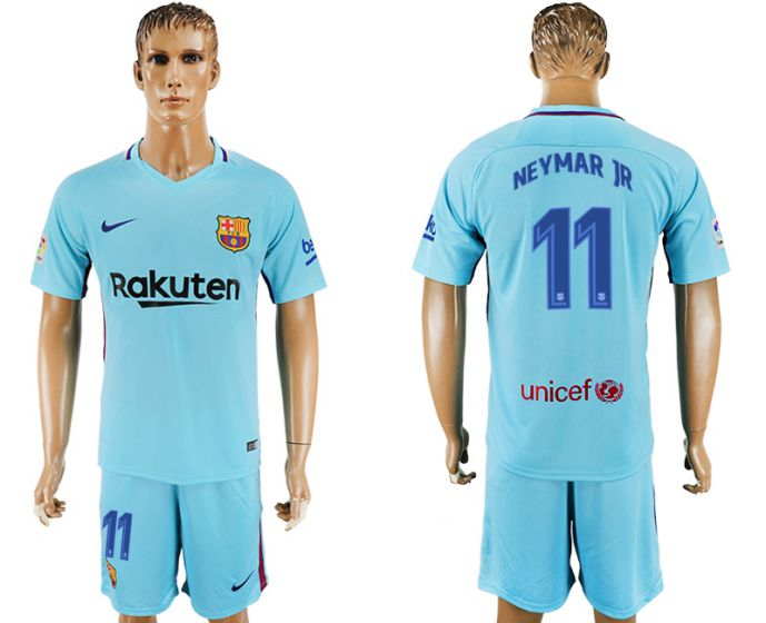 Men 2017-2018 club Barcelona away 11 blue soccer jersey