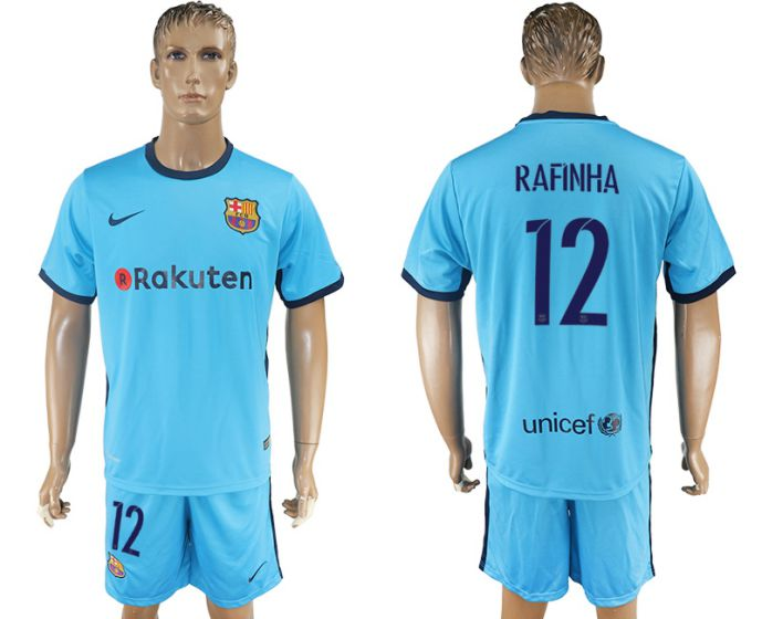 Men 2017-2018 club Barcelona away 12 Rafinha blue soccer jersey