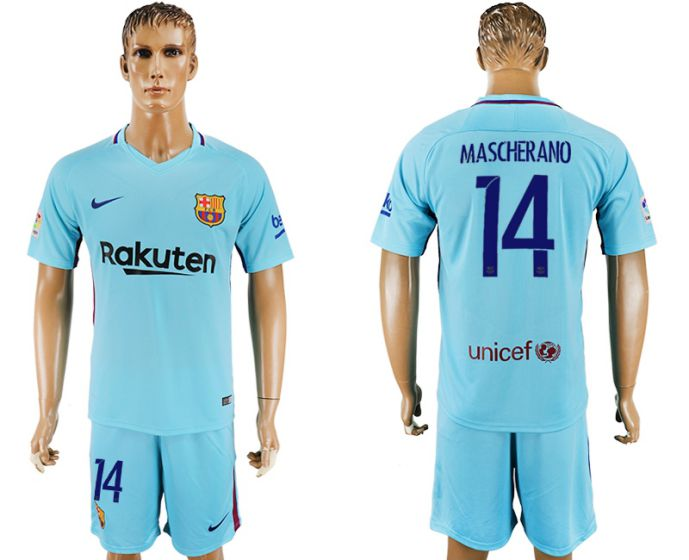 Men 2017-2018 club Barcelona away 14 Mascherano blue soccer jersey