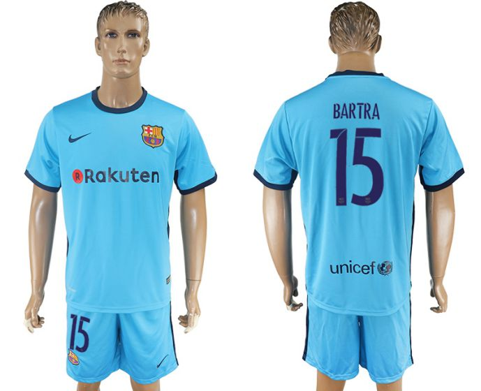 Men 2017-2018 club Barcelona away 15 blue soccer jersey
