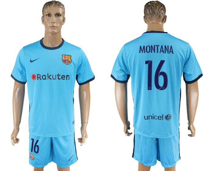 Men 2017-2018 club Barcelona away 16 blue soccer jersey