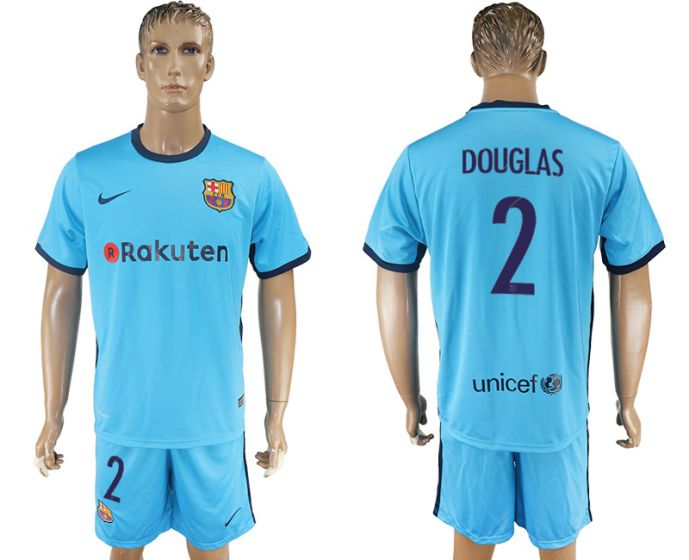 Hommes 2017-2018 club Barcelona away 2 bleu bleu maillot de football