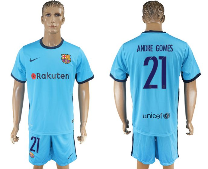 Men 2017-2018 club Barcelona away 21 Andre Gomes blue soccer jersey