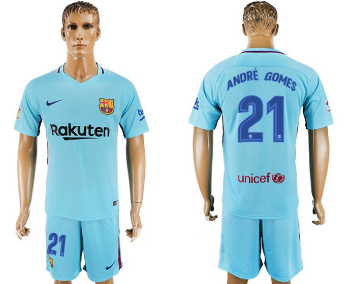 Men 2017-2018 club Barcelona away 21 blue soccer jersey