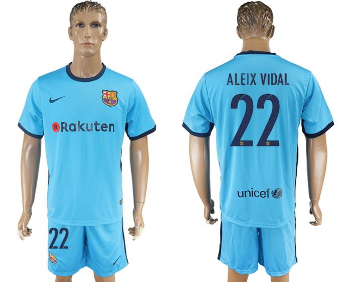 Men 2017-2018 club Barcelona away 22 Aleix vidal blue soccer jersey