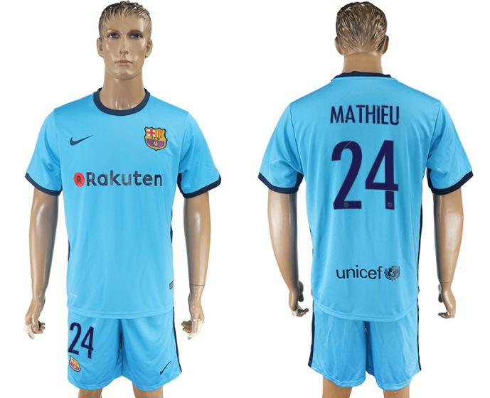 Men 2017-2018 club Barcelona away 24 Mathieu blue soccer jersey