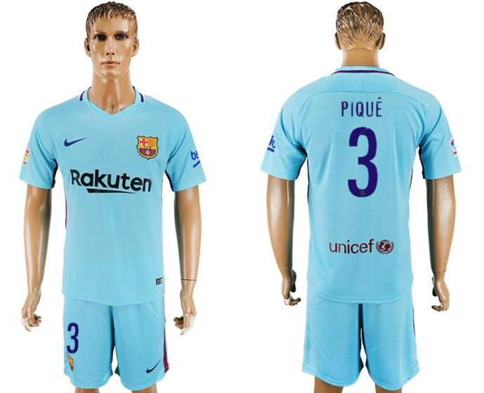 Men 2017-2018 club Barcelona away 3 Pique blue soccer jersey