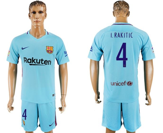 Men 2017-2018 club Barcelona away 4 I. Rakitic blue soccer jersey