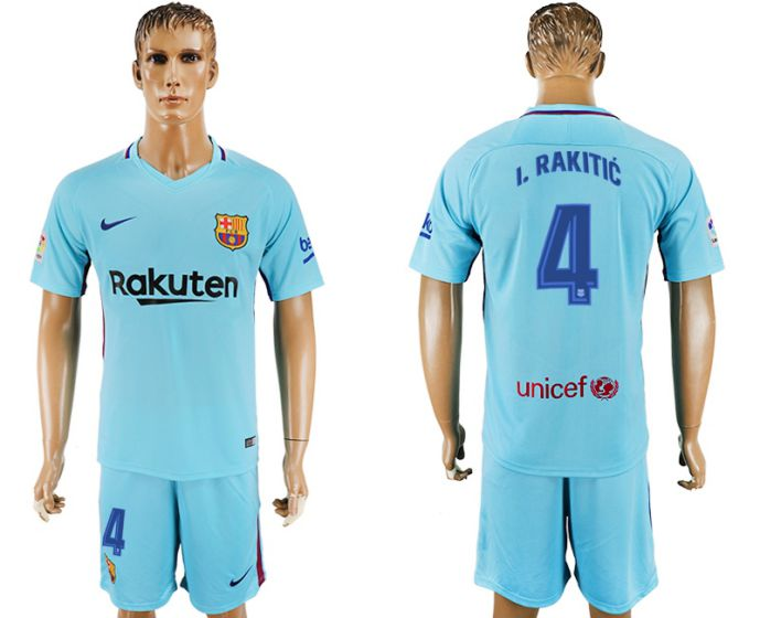 Men 2017-2018 club Barcelona away 4 blue soccer jersey
