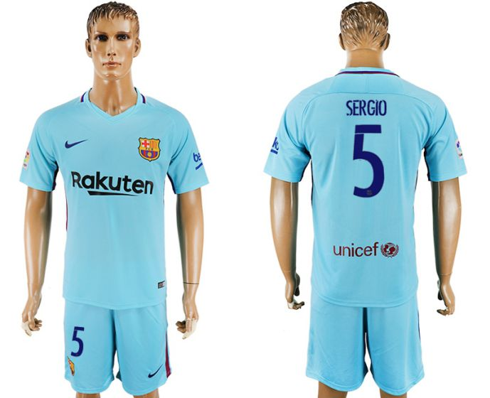 Men 2017-2018 club Barcelona away 5 Sergio blue soccer jersey