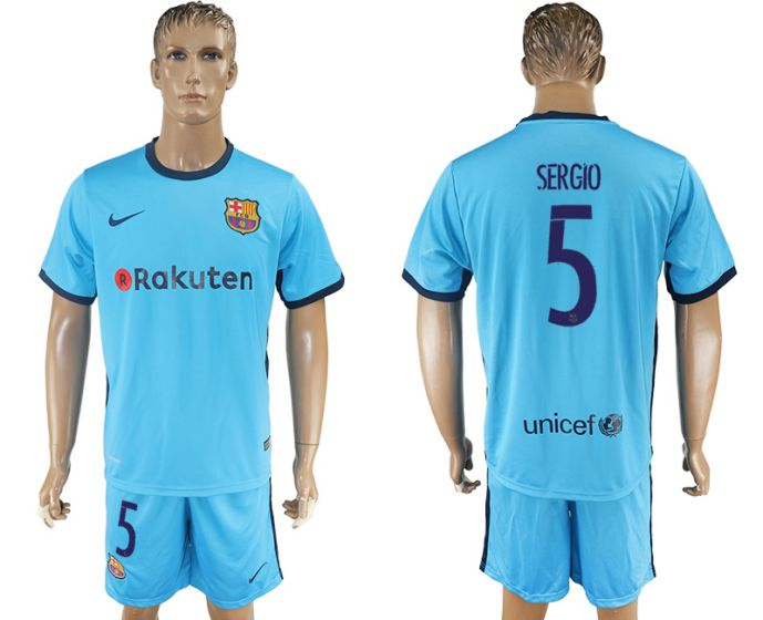 Men 2017-2018 club Barcelona away 5 blue soccer jersey