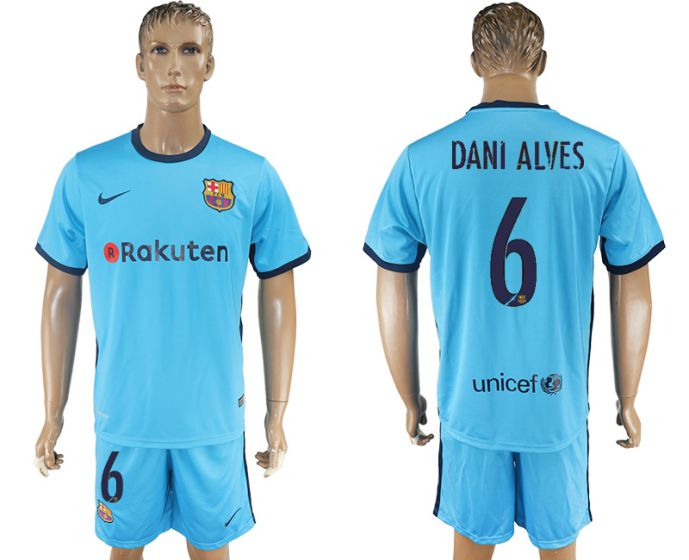 Men 2017-2018 club Barcelona away 6 Dani Alves blue soccer jersey