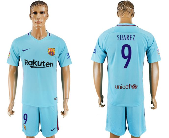 Men 2017-2018 club Barcelona away 9 Suarez blue soccer jersey