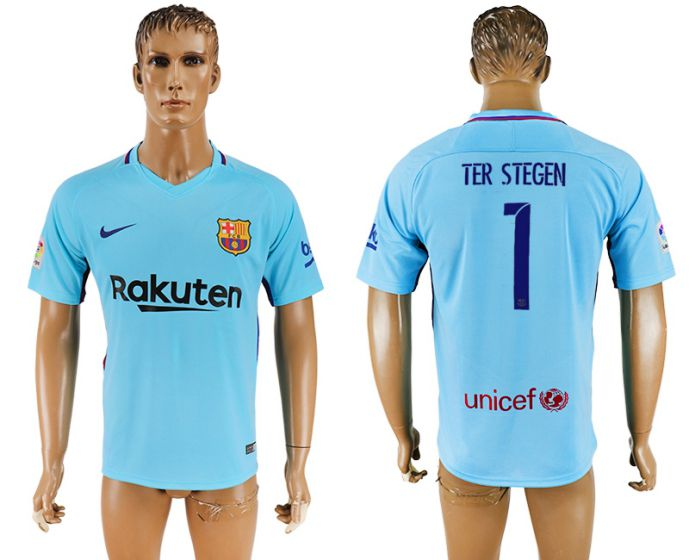 Men 2017-2018 club Barcelona away aaa version 1 Ter Stegen blue soccer jersey