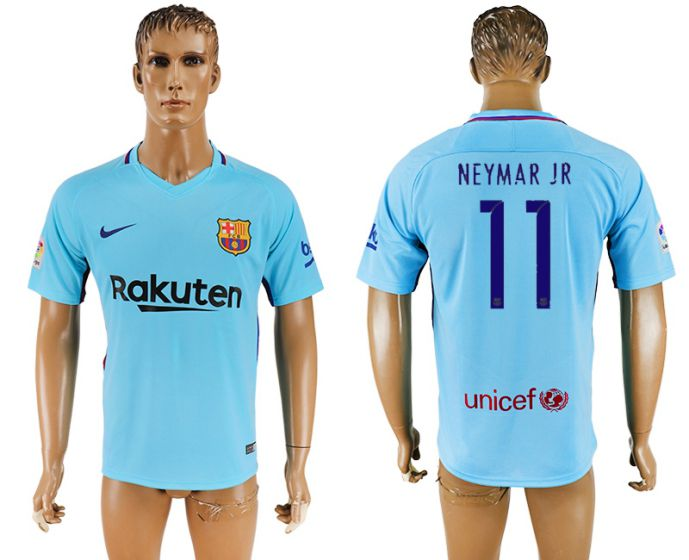 Hommes 2017-2018 club Barcelone loin aaa version 11 Maillot de football bleu Neymar Jr