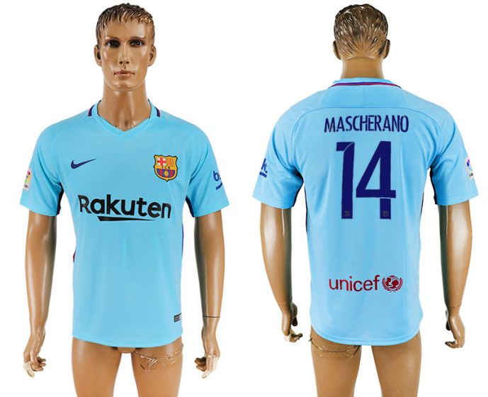 Men 2017-2018 club Barcelona away aaa version 14 Mascherano blue soccer jersey