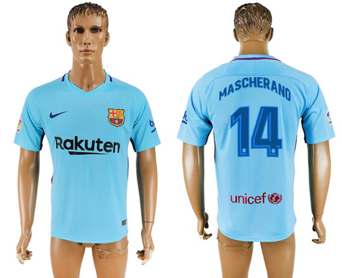Hommes 2017-2018 club Barcelone loin aaa version 14 bleu football maillot