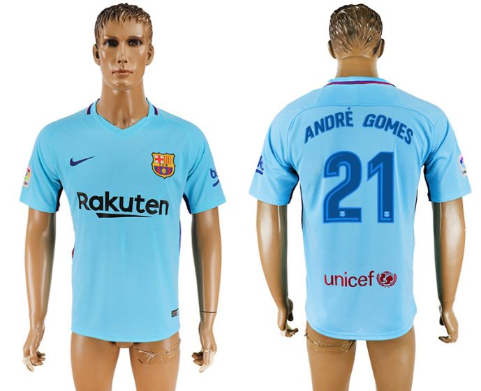 Hommes 2017-2018 club Barcelone loin aaa version 21 bleu football maillot