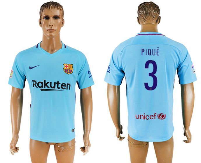 Men 2017-2018 club Barcelona away aaa version 3 Pique blue soccer jersey