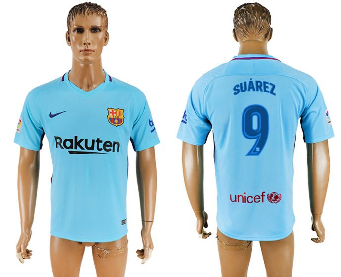 Hommes 2017-2018 club Barcelone loin aaa version 9 bleu maillot de football