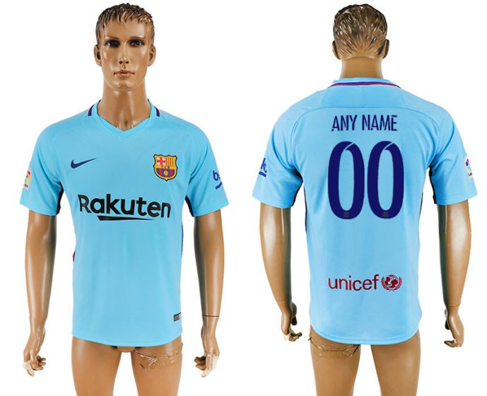 Men 2017-2018 club Barcelona away aaa version customized blue soccer jersey