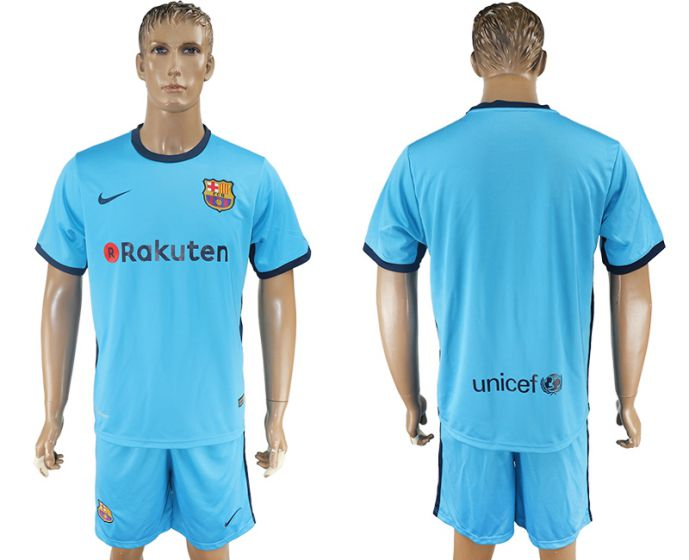 Men 2017-2018 club Barcelona away blank blue soccer jersey