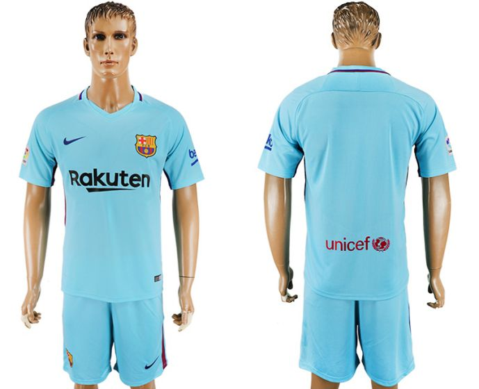 Men 2017-2018 club Barcelona away blue soccer jersey