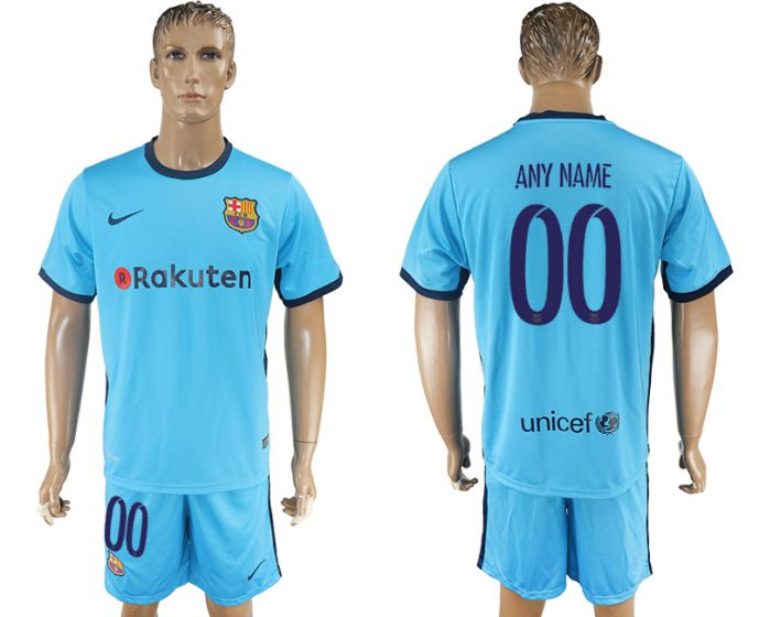 Men 2017-2018 club Barcelona away customized blue blue soccer jersey