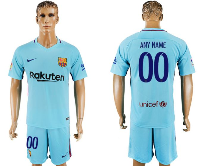 Men 2017-2018 club Barcelona away customized blue soccer jersey