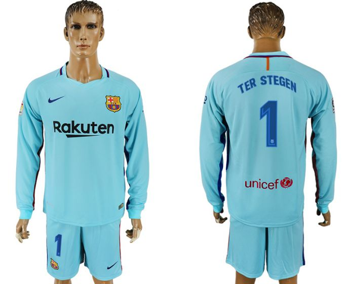 Hommes 2017-2018 club Barcelone à manches longues 1 maillot de football