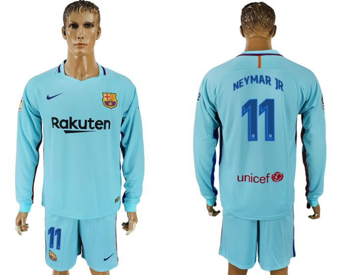 Men 2017-2018 club Barcelona away long sleeve 11 soccer jersey