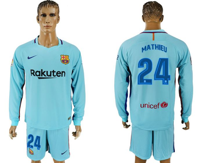 Hommes 2017-2018 club Barcelone à manches longues 24 maillot de football