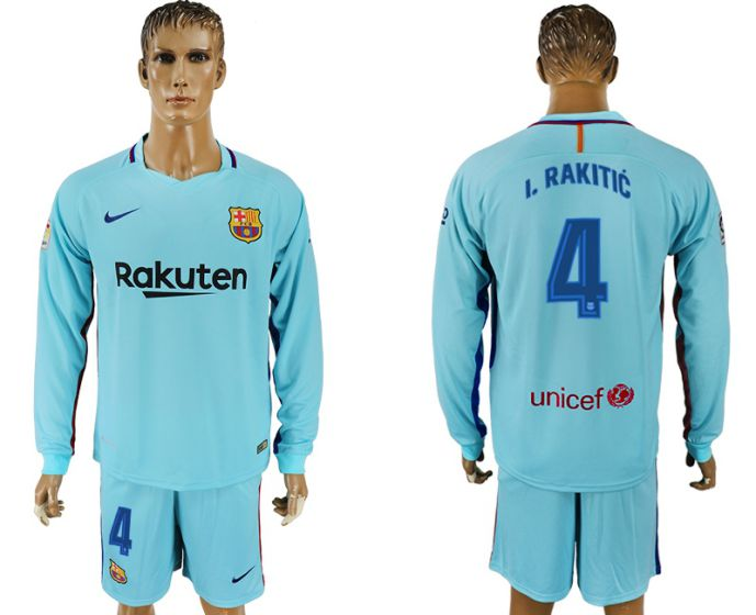 Hommes 2017-2018 club Barcelone à manches longues 4 maillot de football