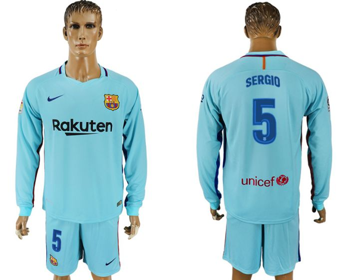 Hommes 2017-2018 club Barcelone à manches longues 5 maillot de football