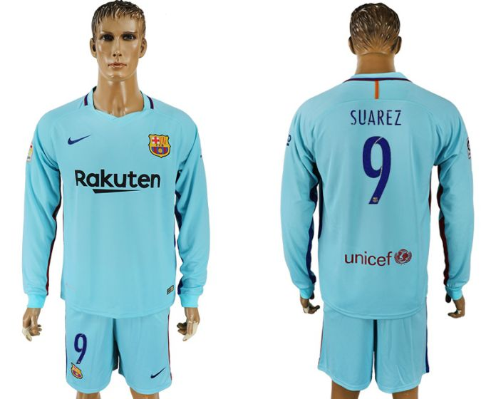 Men 2017-2018 club Barcelona away long sleeve 9 Suarez soccer jersey