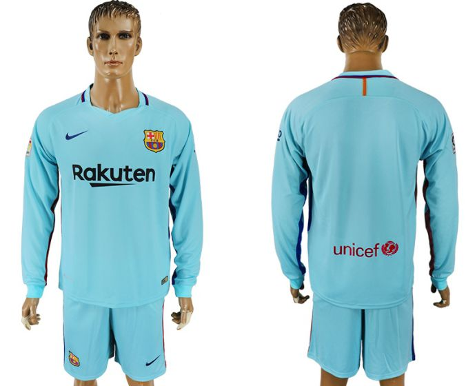 Men 2017-2018 club Barcelona away long sleeve soccer jersey