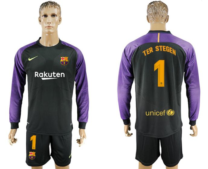 Men 2017-2018 club Barcelona black goalkeeper long sleeve 1 soccer jersey