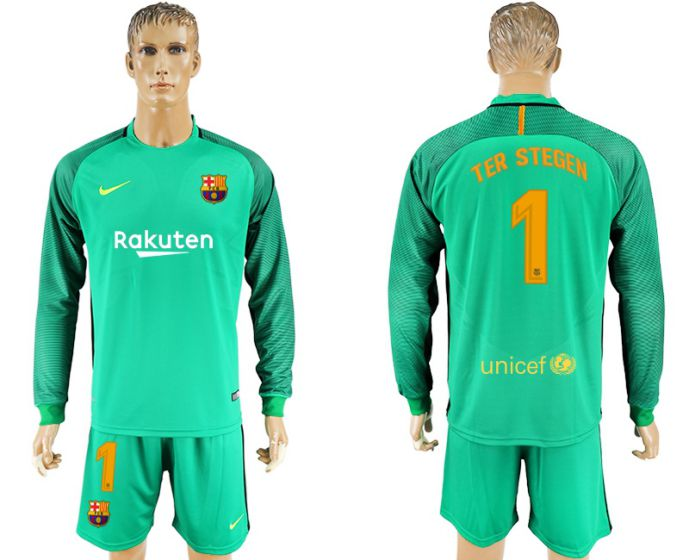 Men 2017-2018 club Barcelona green Long sleeve goalkeeper 1 soccer jersey